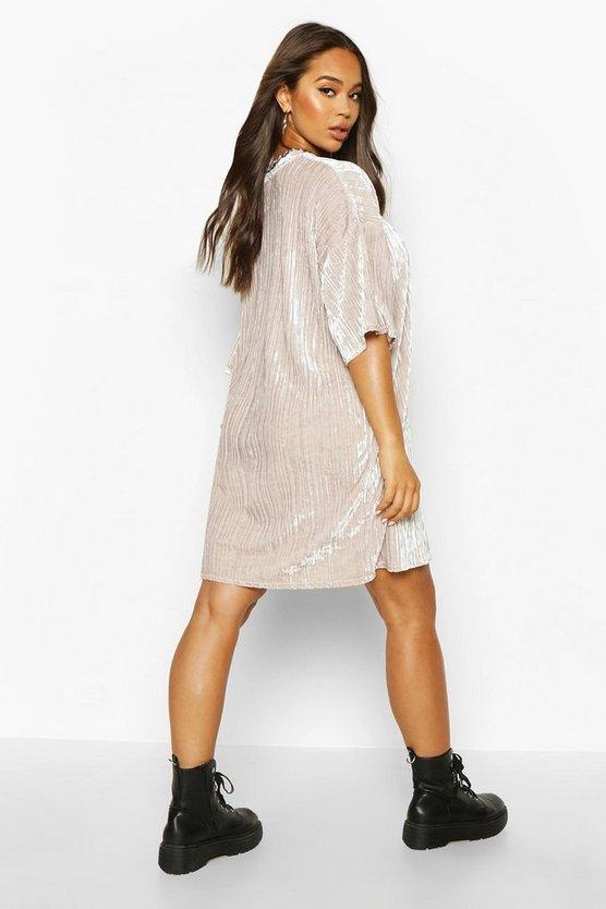 Plisse Velvet T-Shirt Dress