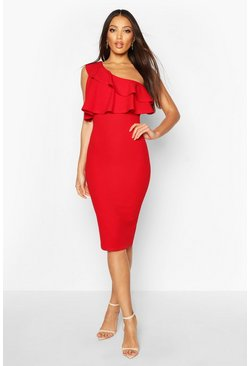 Womens Red One Shoulder Ruffle Midi Dress