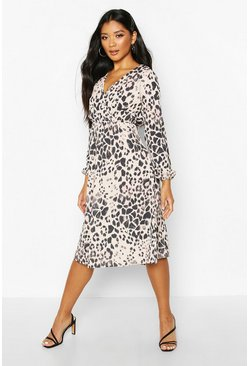 Womens Brown Leopard Wrap Midi Dress