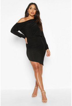 Black Off The Shoulder Asymmetric Hem Mini Dress