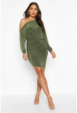 Womens Olive Off The Shoulder Asymmetric Hem Mini Dress