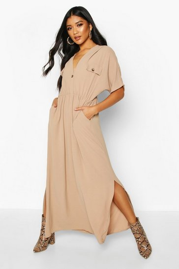 Womens Stone Horn Button Utility Midi Dress