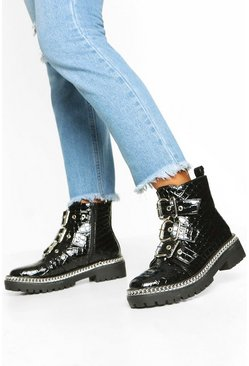 Black Croc Chain Detail Buckle Strap Biker Boots