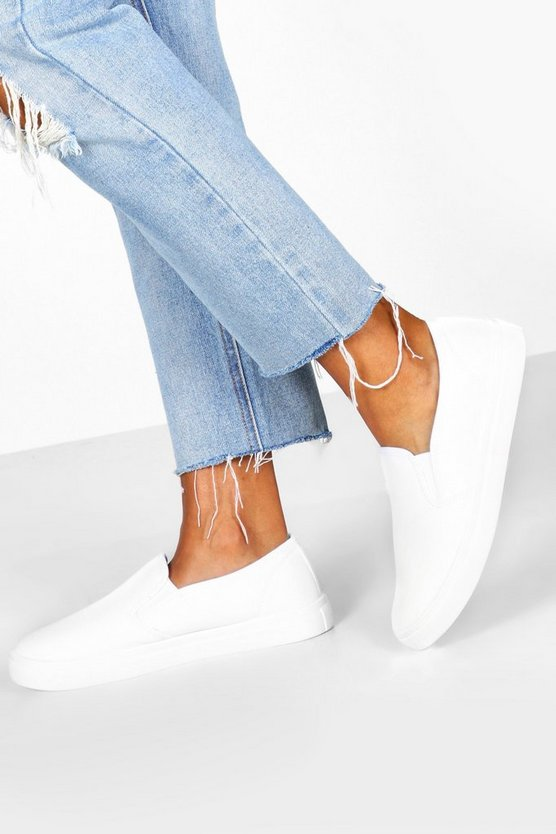 Womens White Basic Slip On Skater Trainers