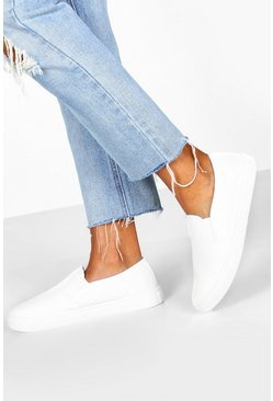 Womens White Basic Slip On Skaters Trainers