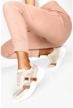 Womens Beige Tag Detail Chunky Trainers