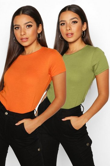 Womens Orange 2 Pack Crew Neck 100% Cotton T-Shirts
