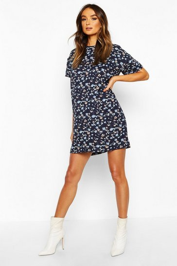 Womens Navy Floral Print Shift Dress