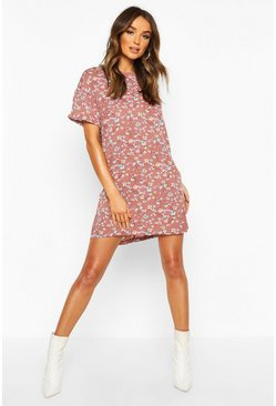 Rose Floral Print Shift Dress