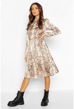 Womens Brown Snake Print High Neck Open Back Midi Dress