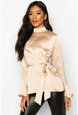 Womens Champagne Satin High Neck Wrap Frill Sleeve Blouse
