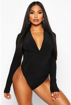 Womens Black Slinky Long Sleeve Plunge Bodysuit