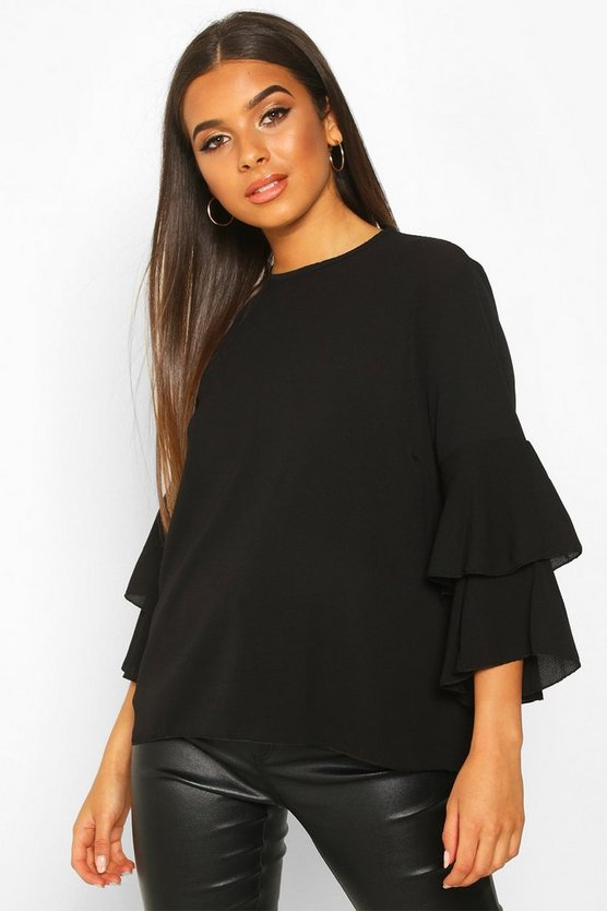 Black Volume Sleeve Tunic Top
