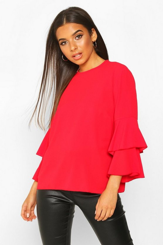 Womens Red Volume Sleeve Tunic Top