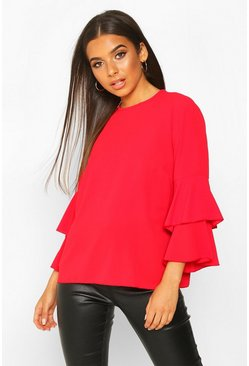 Red Volume Sleeve Tunic Top