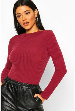 Berry Ribbed Crew Neck Long Sleeve Top