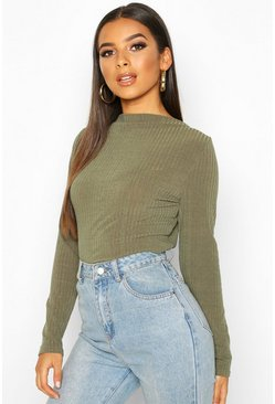 Dam Khaki Ribbed Crew Neck Long Sleeve Top