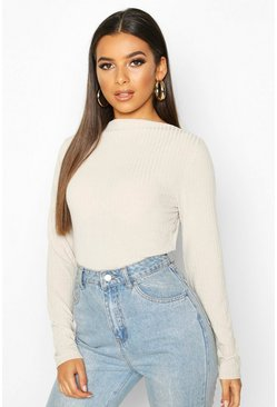 Stone Ribbed Crew Neck Long Sleeve Top