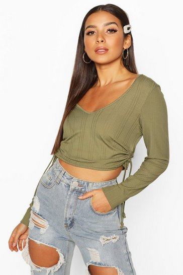 Womens Khaki Long Sleeved Ribbed Ruched Side Crop