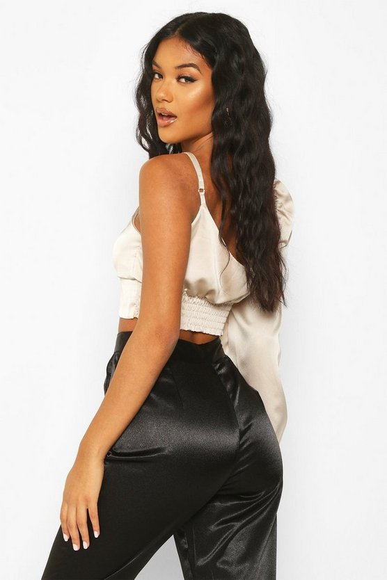 One Shoulder Thin Front Satin Blouse