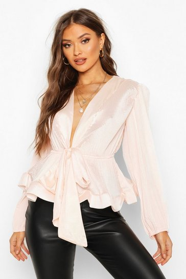 Blush Woven Crinkle Tie Front Blouse