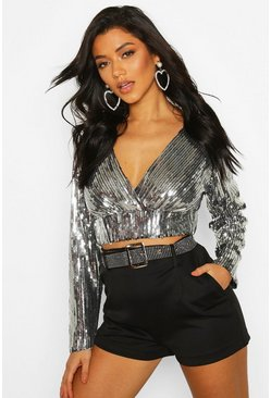 Womens Black Sequin Wrap Top