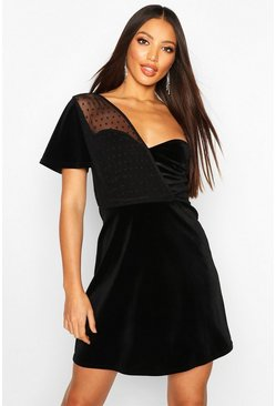Black One Shoulder Dobby Mesh Velvet Skater Dress