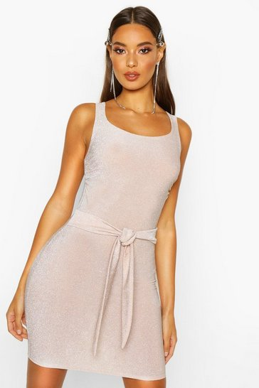 Womens Nude Square Neck Tie Detail Mini Dress