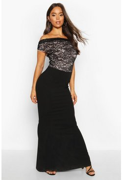 Black Off The Shoulder Lace Top Fishtail Maxi Dress