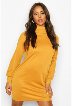 Womens Mustard Funnel Neck Volume Sleeve Shift Dress