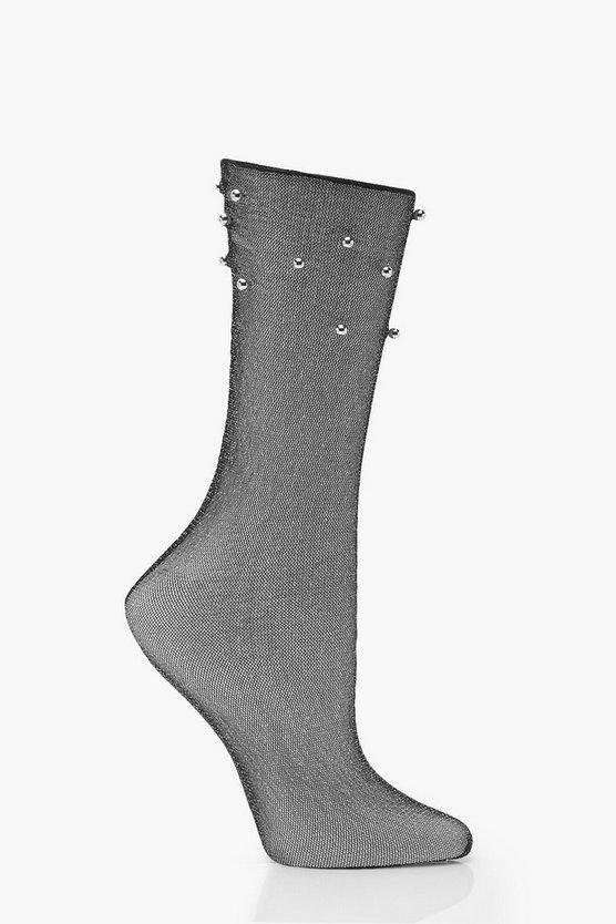 Beaded Sheer Ankle Sock