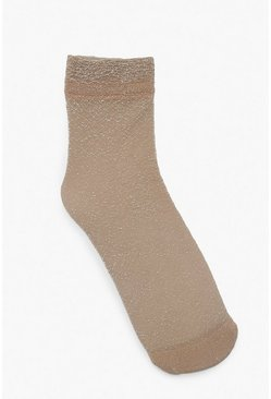 Womens Cream Glitter Sock