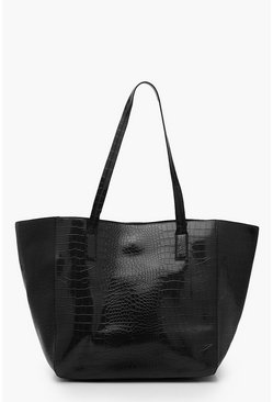 Dam Black Oversized Croc Day Bag