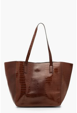 Womens Chocolate Oversized Croc Day Bag