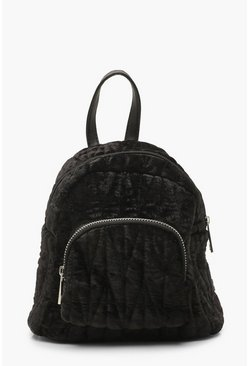 Womens Black Velvet Quilted Mini Rucksack