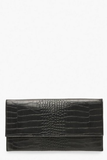 Womens Black Croc Fold Over Clutch Bag & Chain