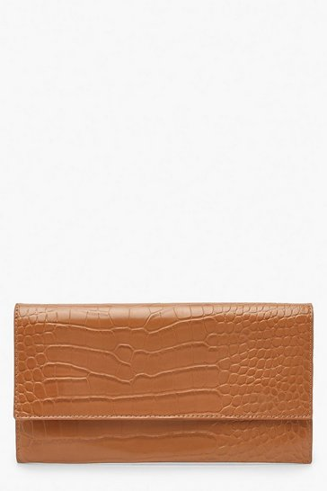 Womens Caramel Croc Fold Over Clutch Bag & Chain