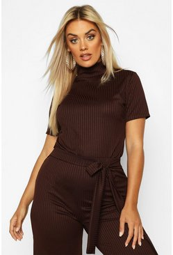 Womens Chocolate Plus Cap Sleeve High Neck Crop Top