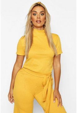 Mustard Plus Cap Sleeve High Neck Crop Top