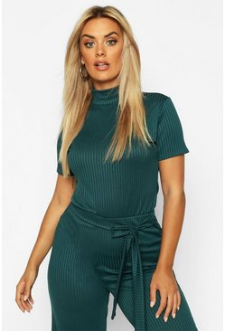 Teal Plus Cap Sleeve High Neck Crop Top