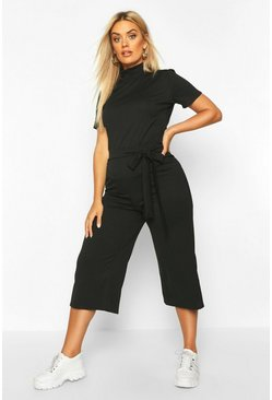 Black Plus Jumbo Wide Leg Rib Culotte