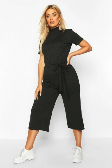 Womens Black Plus Jumbo Wide Leg Rib Culotte