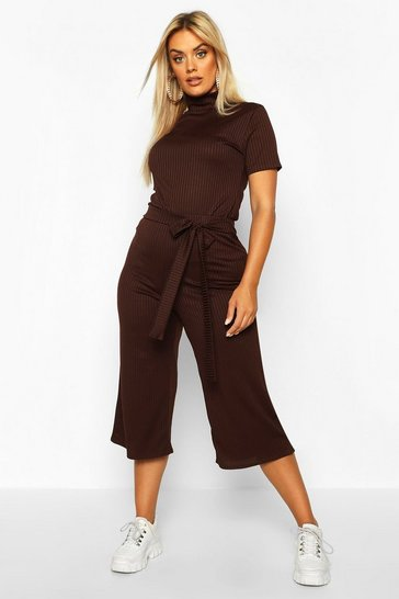 Womens Chocolate Plus Jumbo Wide Leg Rib Culotte