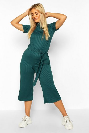 Womens Teal Plus Jumbo Wide Leg Rib Culotte