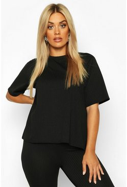 Black Plus Oversized Side Split Jumbo Rib Tee
