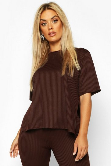 Chocolate Plus Oversized Side Split Jumbo Rib Tee