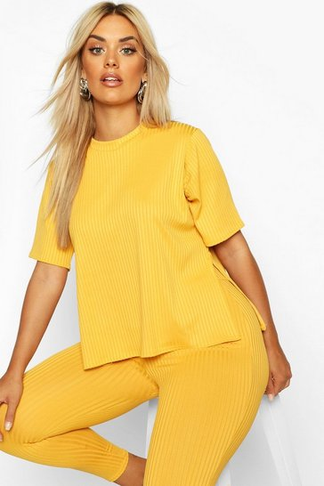 Mustard Plus Oversized Side Split Jumbo Rib Tee