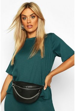 Teal Plus Oversized Side Split Jumbo Rib Tee
