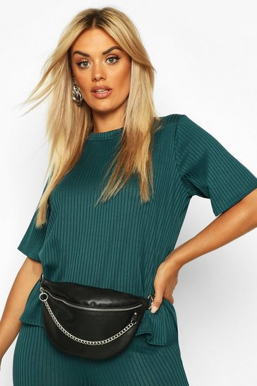 Womens Teal Plus Oversized Side Split Jumbo Rib Tee