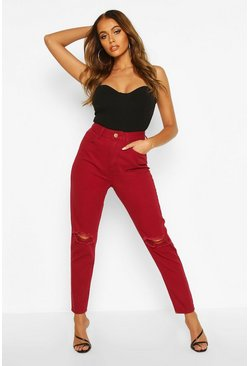 Mom-Jeans in Used-Optik mit hohem Bund, Beerenrot